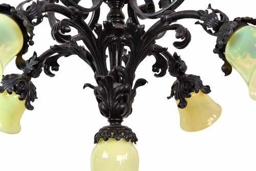 Leafy five light chandelier with vaseline glass shades leafy five light chandelier with vaseline glass shades aloadofball Images
