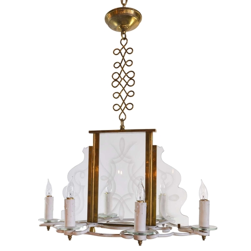 1960s six candle chandelier with decorative etched glass panels 1960s six candle chandelier with decorative etched glass panels aloadofball Choice Image
