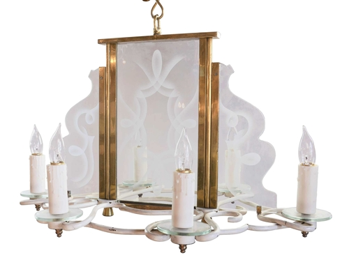 1960s six candle chandelier with decorative etched glass panels 45953 60s etched glass 6 candle chandelier body aloadofball Gallery