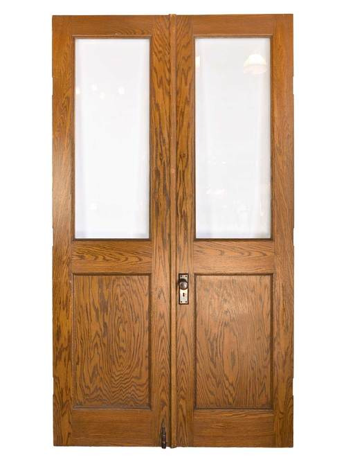 46116-tall-oak-double-doors-with-beveled-glass. - Doors — ARCHITECTURAL ANTIQUES
