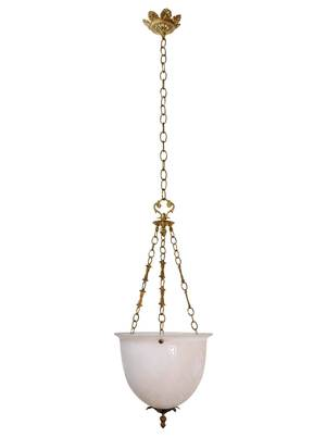 floral brass 3-chain pendant with etched bowl — ARCHITECTURAL ANTIQUES