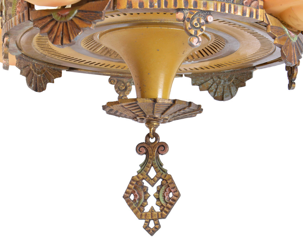 Beardslee williamson slipper shade chandelier architectural antiques 46554 beardslee williamson 4 slipper shade chandelier finial arubaitofo Image collections