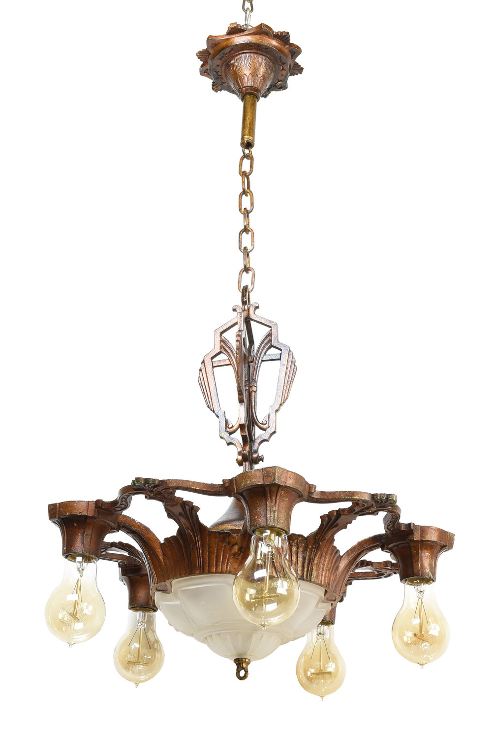 Vintage Chandelier With Frosted Glass Bowl And 5 Lights Architectural Antiques