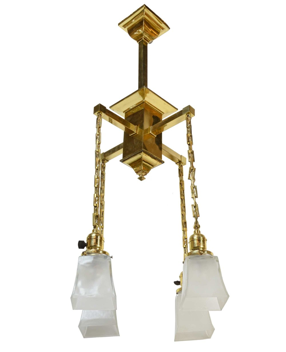 polished brass mission chandelier— architectural antiques