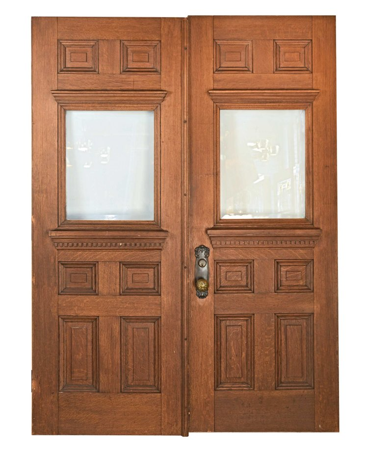Oak Double Doors With Beveled Glass Architectural Antiques