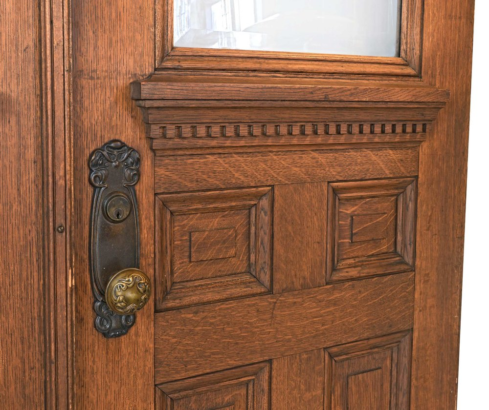 46694 Oak Double Doors With Beveled Glass Detail.