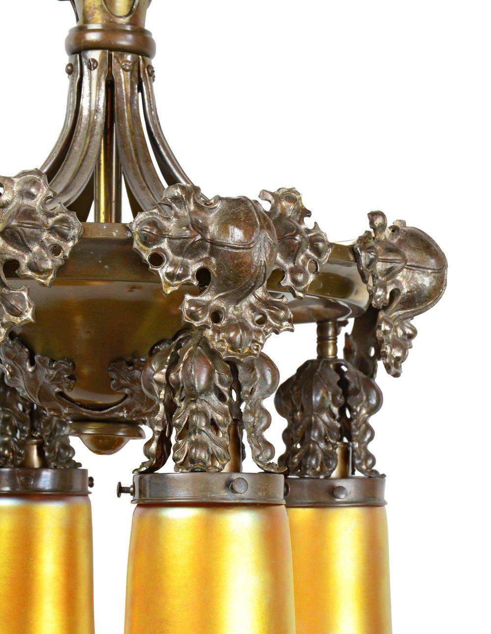 45255-cast-brass-crocket-chandelier-with-quezal-shades-crocket-detail.jpg