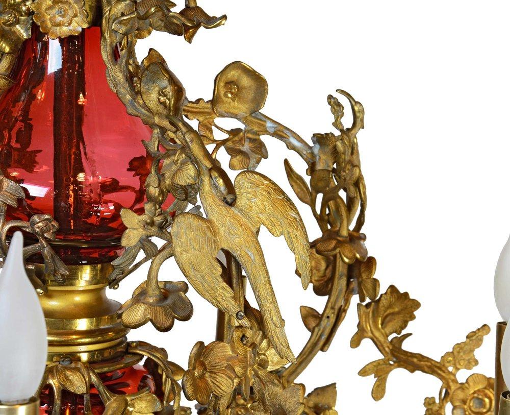 46245-ornate-brass-and-cranberry-glass-fixture-bird-detail.jpg