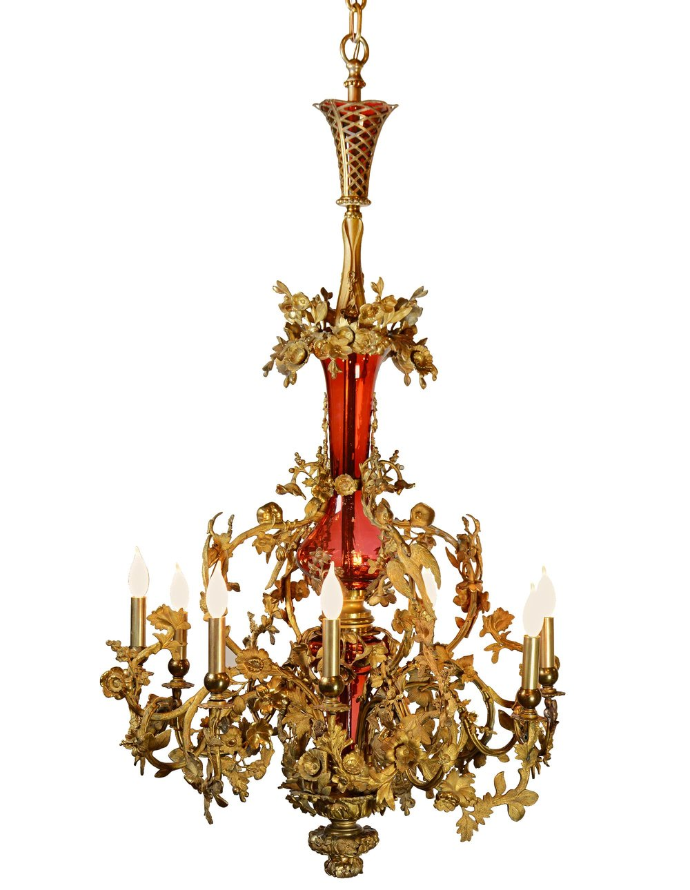 46245-ornate-brass-and-cranberry-glass-fixture-lit.jpg