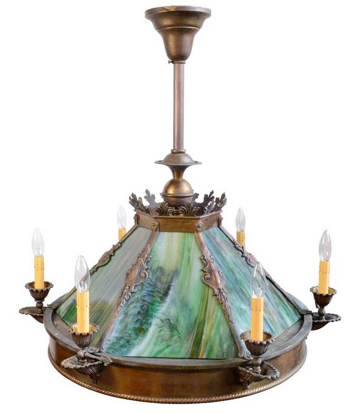 http://www.archantiques.com/sold/6-candle-green-slag-glass-chandelier