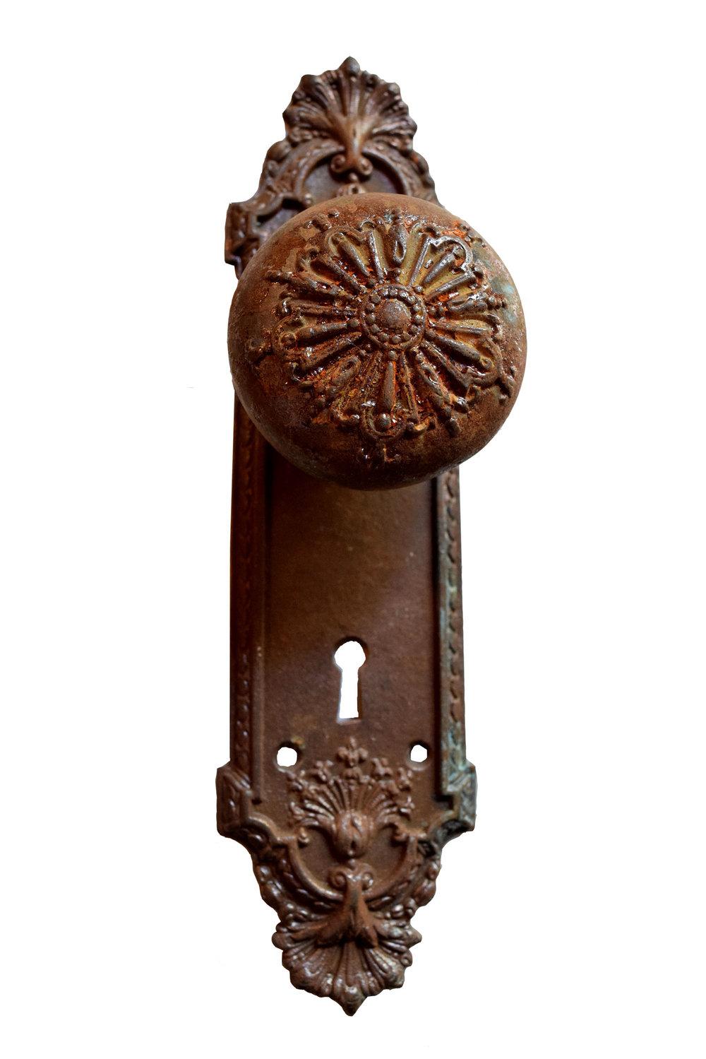 Ornate Federal Cast Iron Door Knob Set