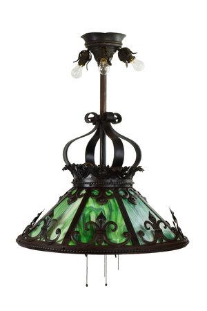 Green slag glass iron chandelier architectural antiques green slag glass iron chandelier aloadofball Gallery