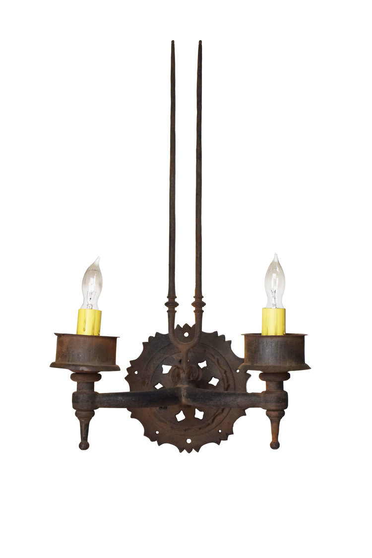 iron 2 candle sconce with prongs architectural antiques