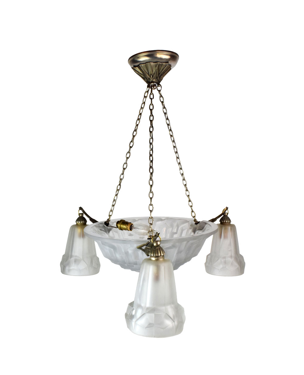 french art deco chandelier with 3 shades