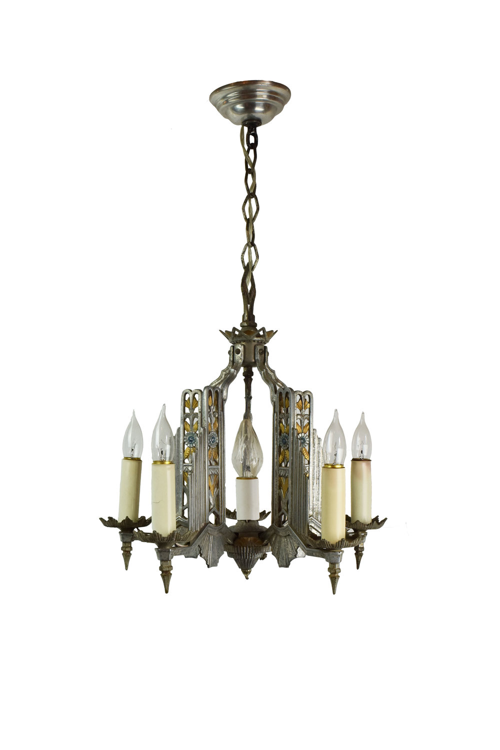 cast aluminum deco chandelier