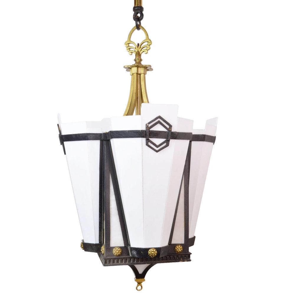deco iron and brass milk glass pendants