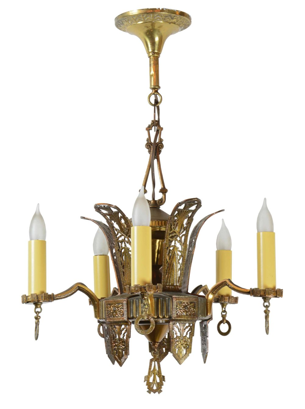brass deco 5-light chandelier