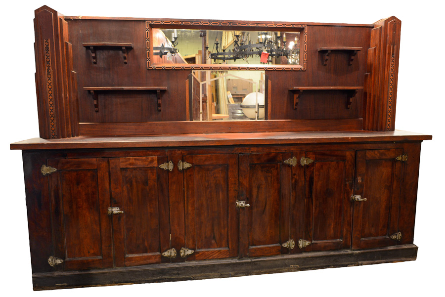 walnut art deco bar back