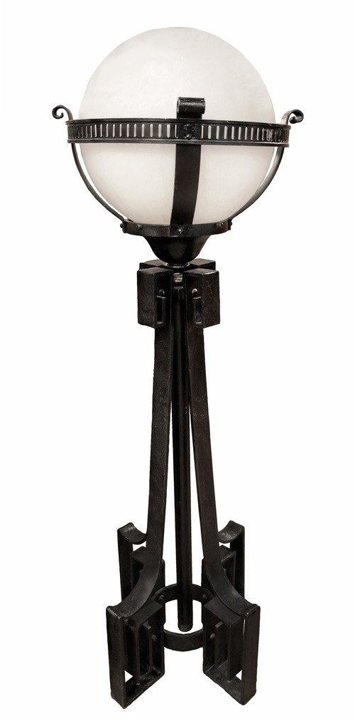 art deco stanchion light pair