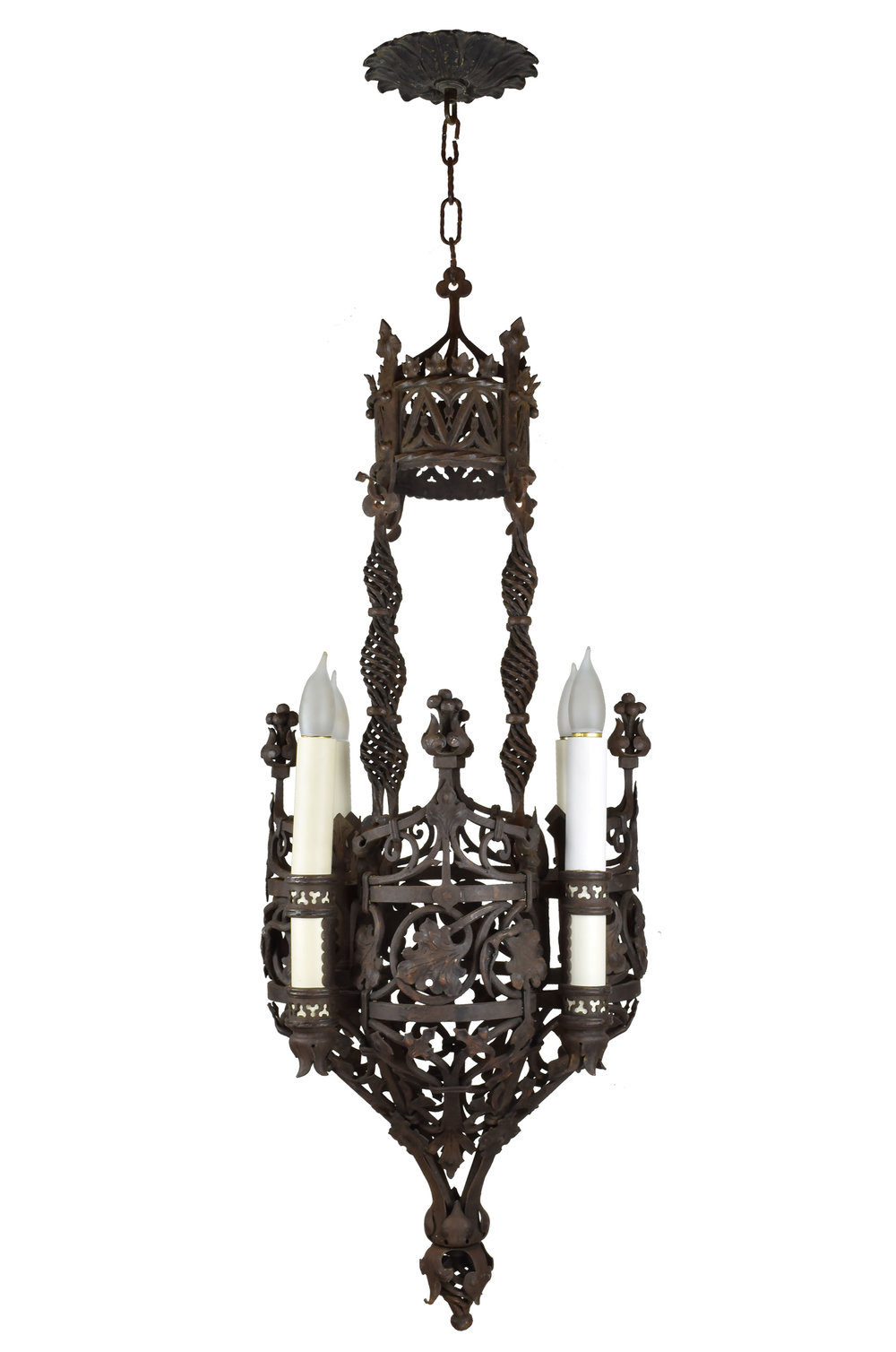 wrought iron 4 candle tudor chandelier
