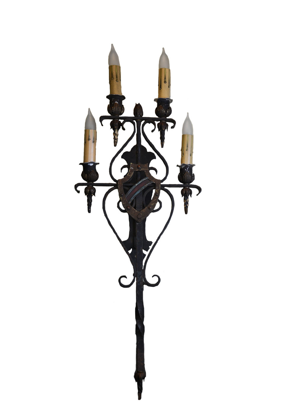 iron plated oversized tudor sconce