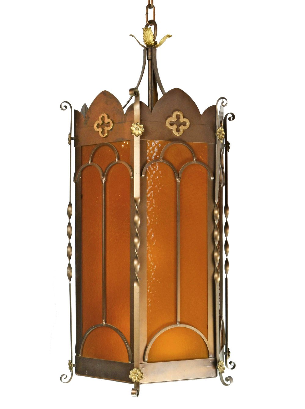 oversized gothic pendant with amber glass