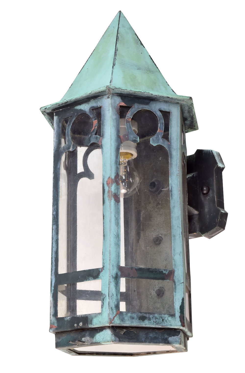 gothic copper exterior sconce