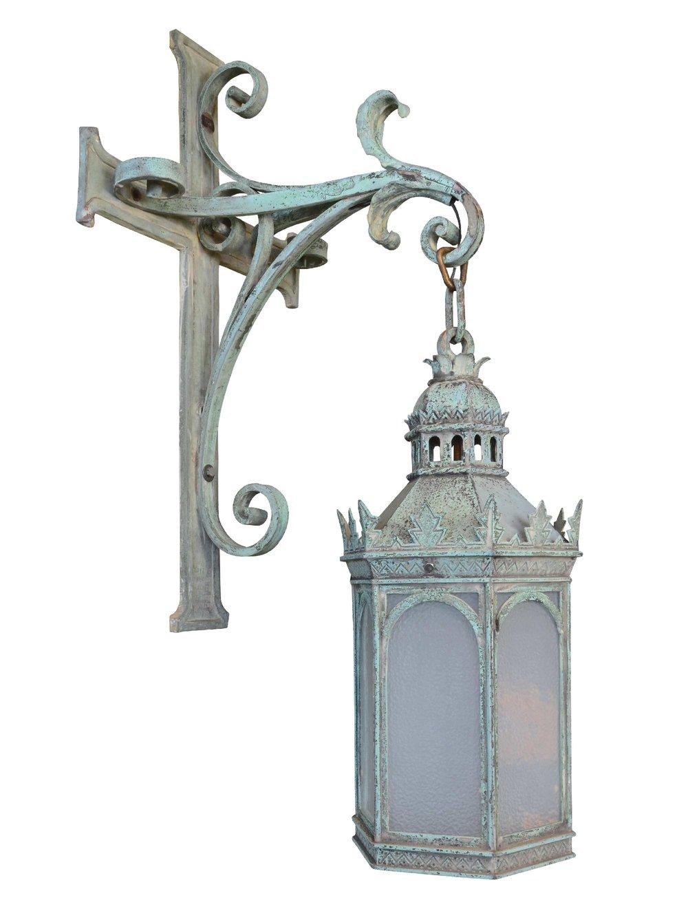 large gothic cast bronze exterior lantern