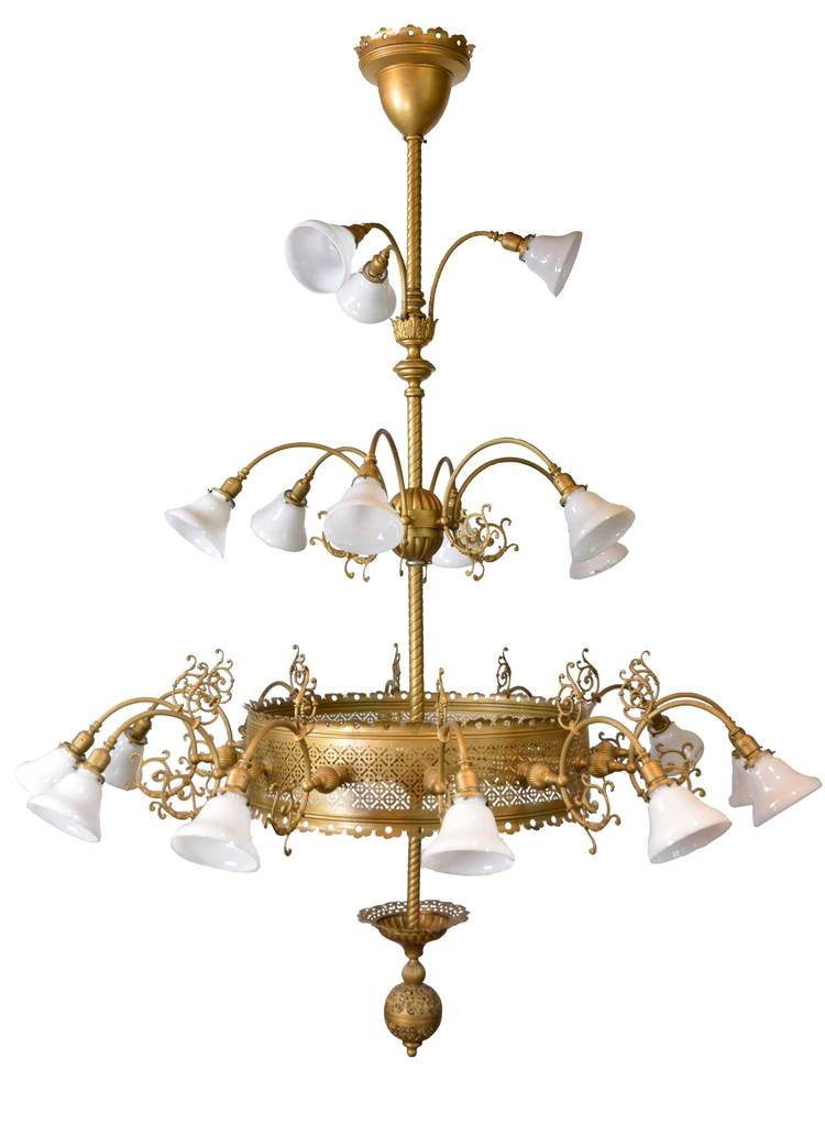 oversized victorian 3-tier brass chandelier