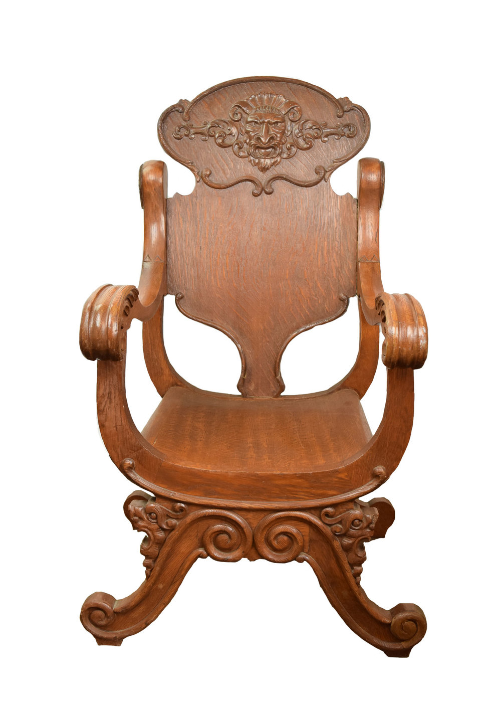 victorian oak arm chair with zeus' face