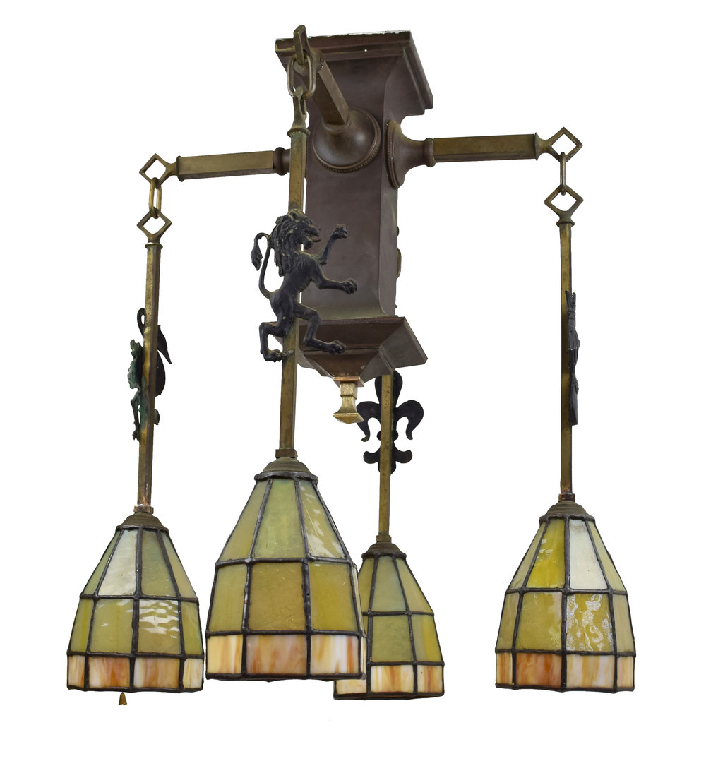 gothic arts & crafts chandelier with leaded glass shades