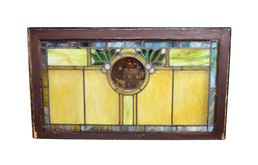 arts & crafts window with handpainted roundel