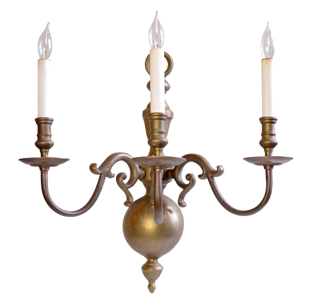 large colonial three arm brass sconces
