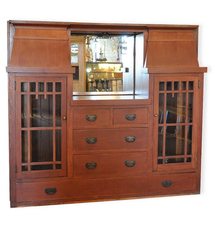 colonial oak built-in buffet