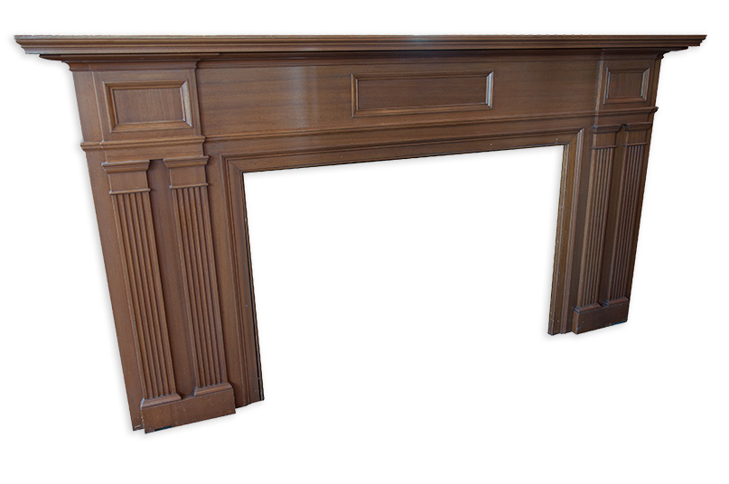 over-sized traditional style walnut mantel