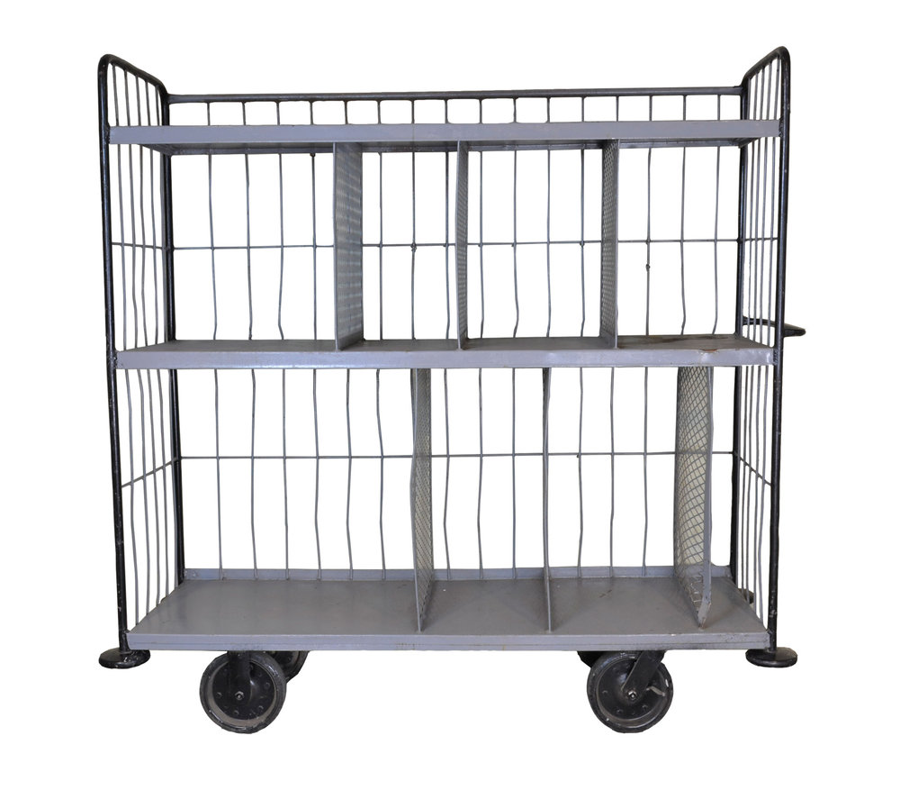 large steel warehouse cart
