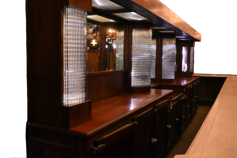 Architectural Antique's Art Deco Mahogany Bar with Glass Rods
