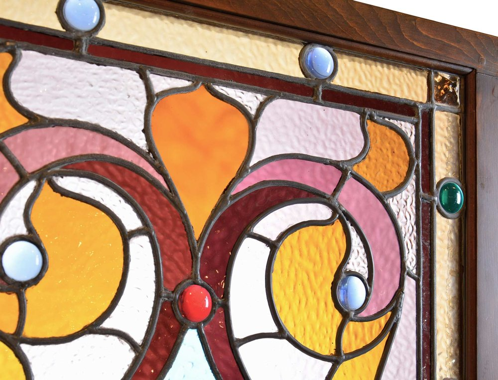 Architectural Antique's Victorian Stained Glass Window with Beveled Center