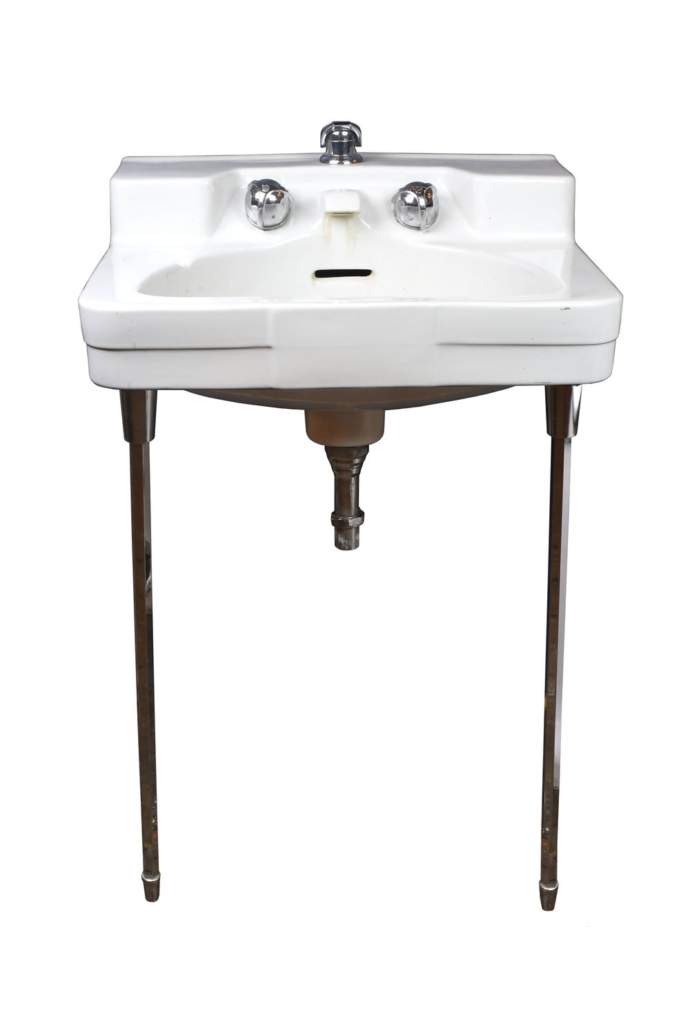 1950u0027s Wall Mount Sink With Chrome Legs