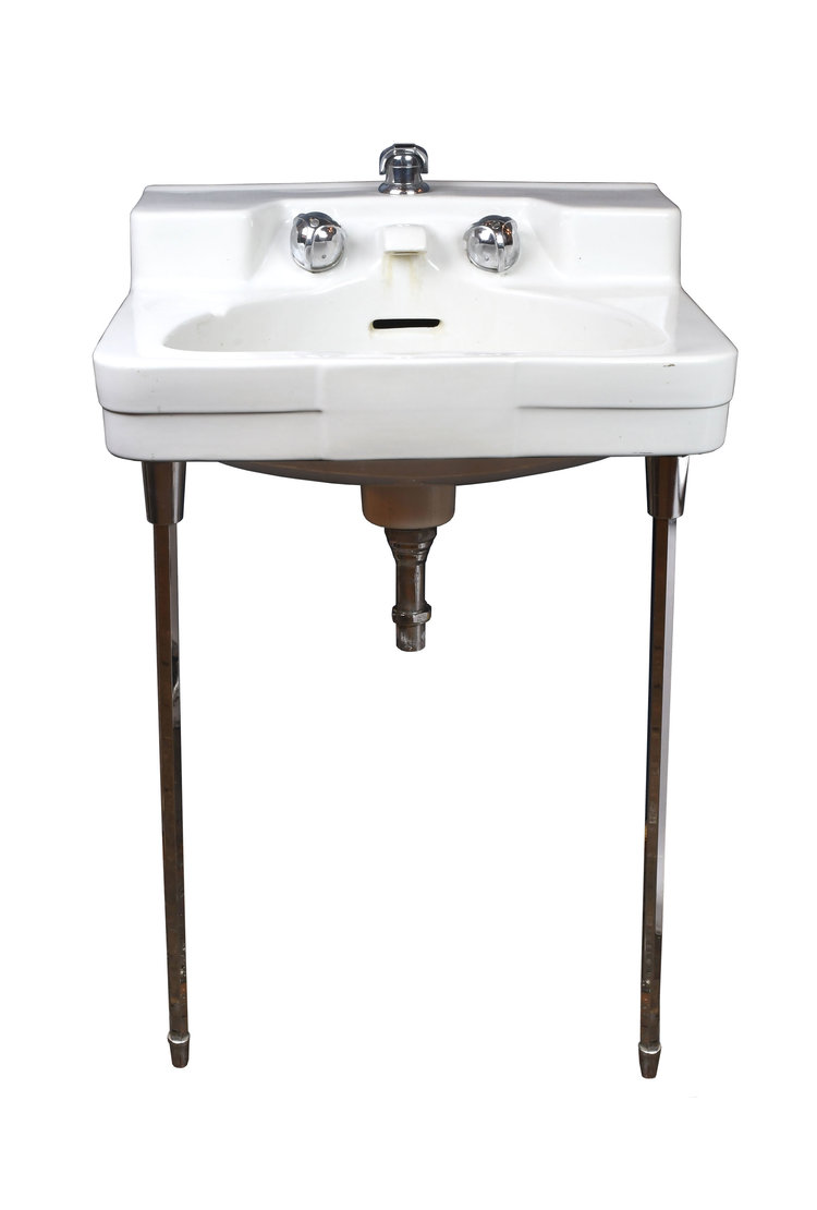 1950s wall mount sink with chrome legs - Wall Mount Sink
