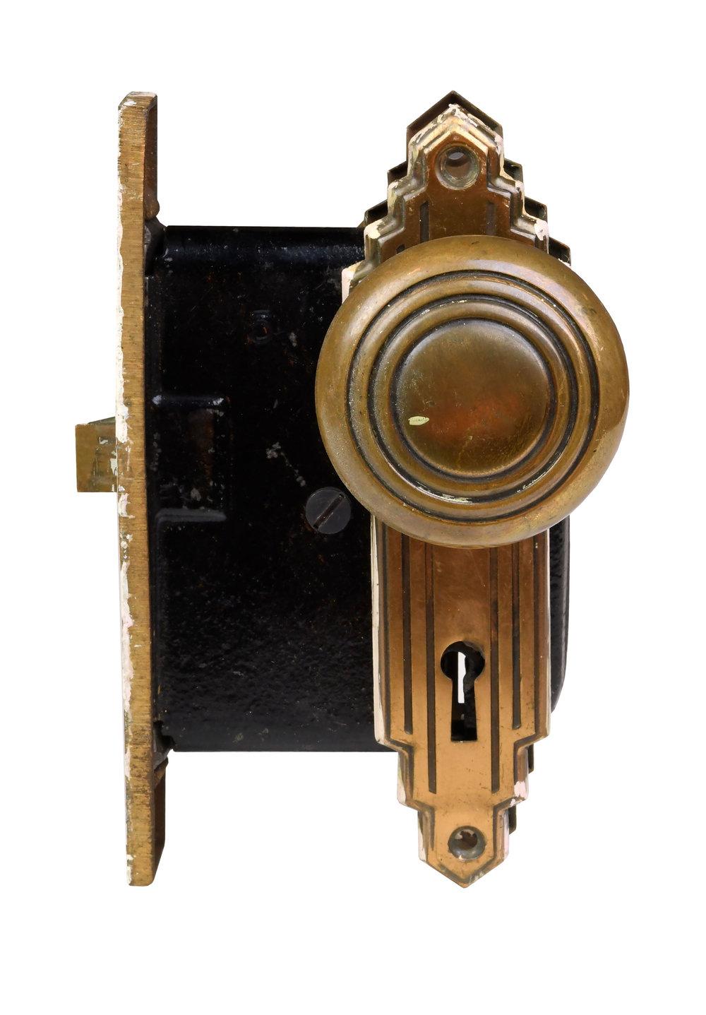 Copper Plated Art Deco Passage Knob Set