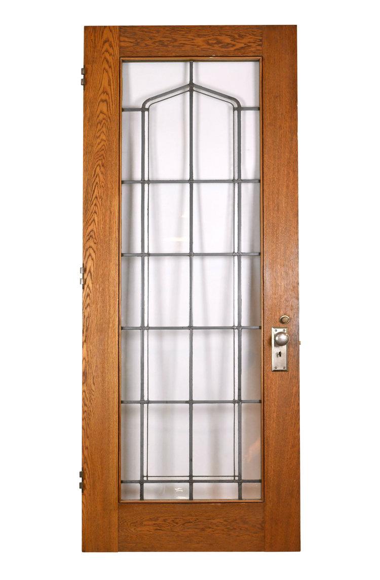 leaded glass oak door - Leaded Glass Oak Door — ARCHITECTURAL ANTIQUES