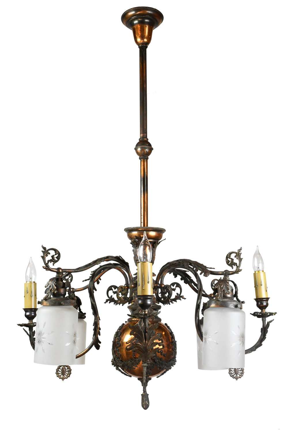 japanned finish gas-electric chandelier