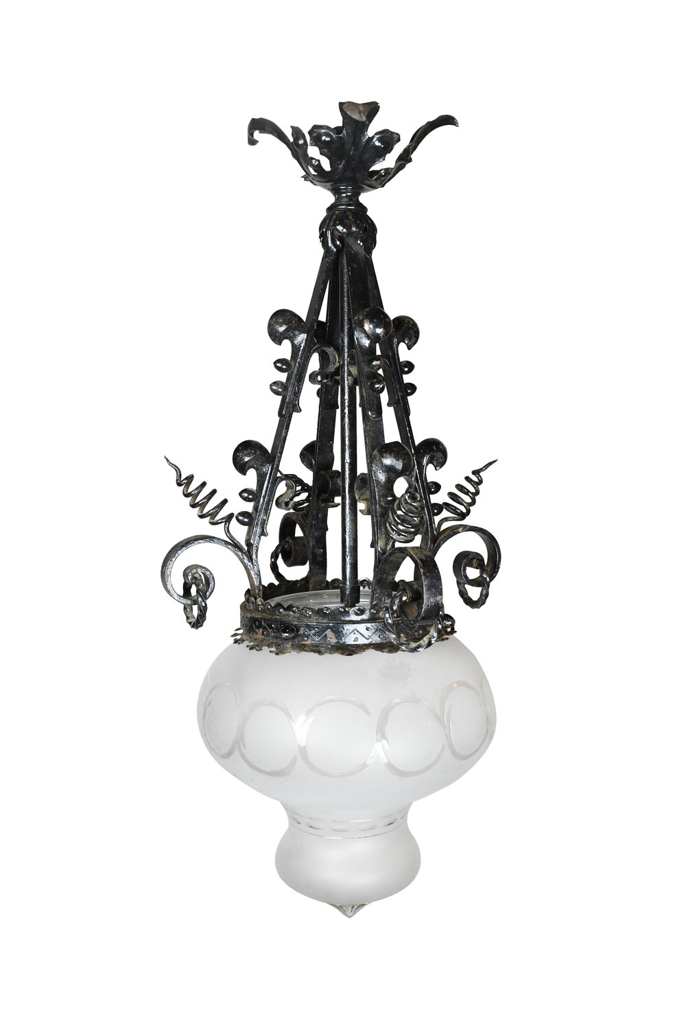 victorian iron pendant with glass shade