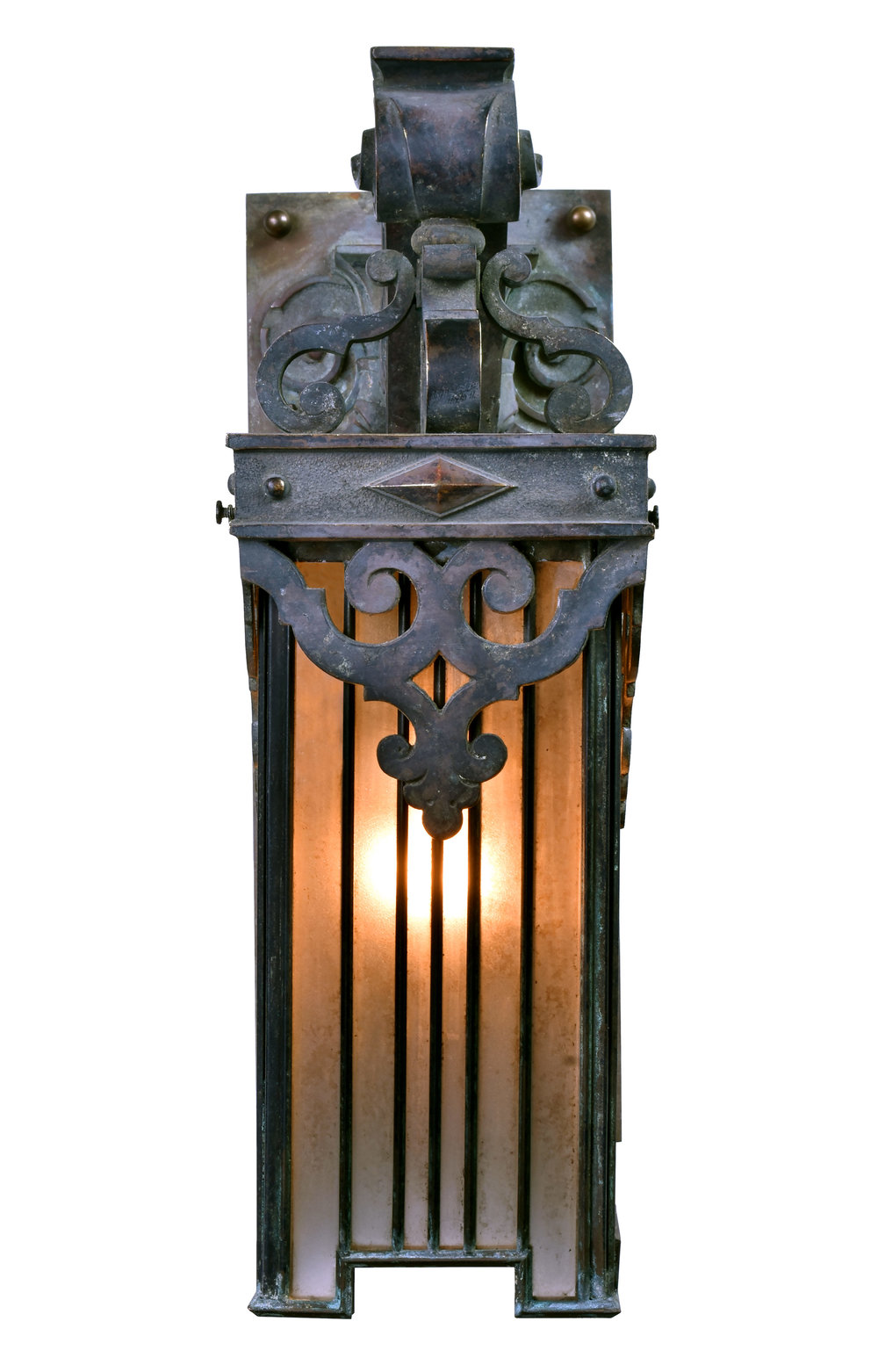 47236-cast-bronze-sconce-with-lead-shade-lit-up-front.jpg