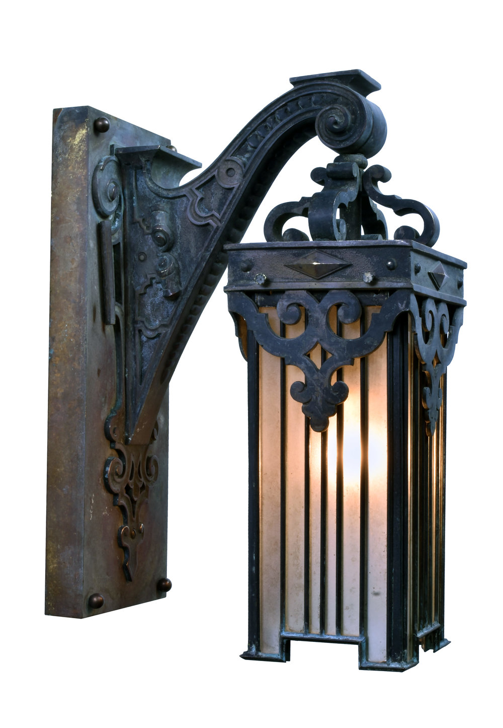 cast bronze victorian sconce with leaded glass shade