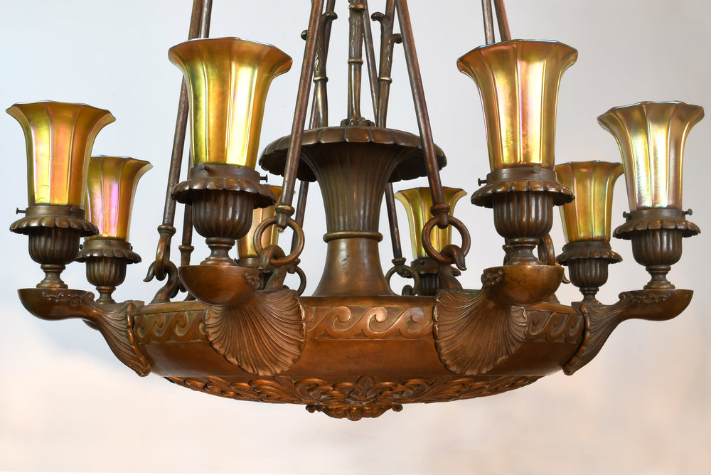 Cast bronze nine light chandelier with steuben shades 47590 cast bronze nine light chandelier body detailg mozeypictures