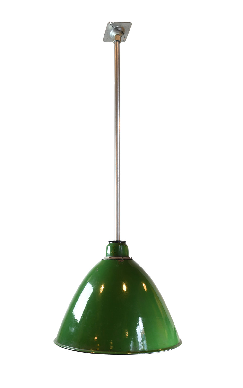 green enamel warehouse light