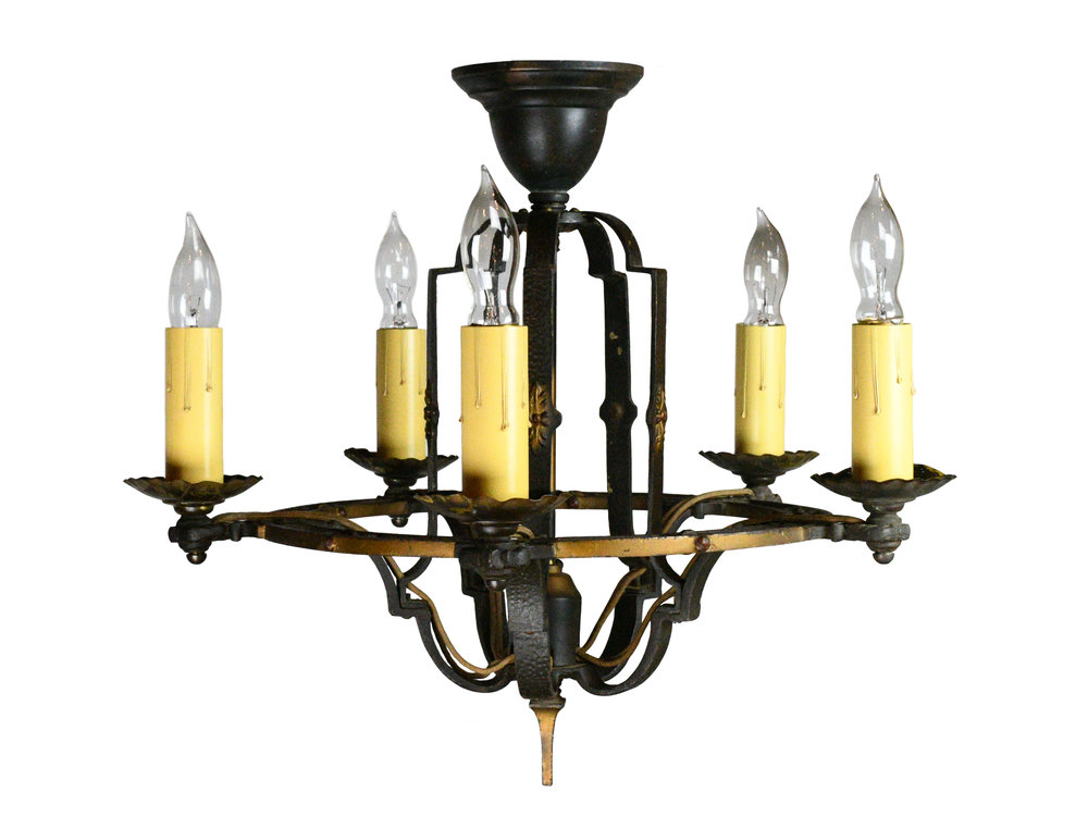 5-candle hammered iron polychrome chandelier