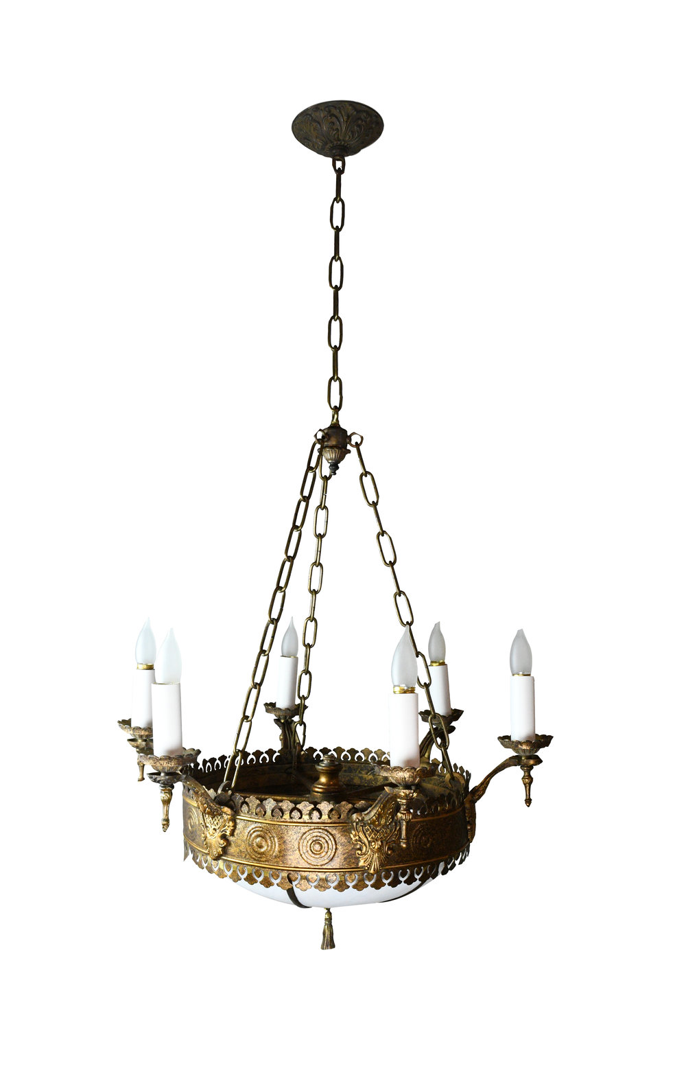 6 candle tudor chandelier with bent glass
